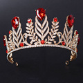 Ladies Red Crystal Glass Drill Bride Crown Hair Tiaras Fashion Wedding Beauty Crown Bridal Gilt Jewelry Wedding jewelry