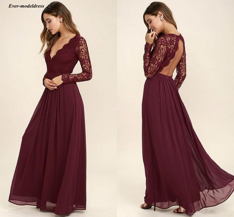 Burgundy Lace   Bridesmaid     Dresses   2019 Sexy Open Back V-Neck A-Line Long Wedding Guest Party Gowns Chiffon Maid of Honor   Dresses