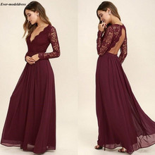Burgundy Lace Bridesmaid Dresses 2020 Sexy Open Back V-Neck