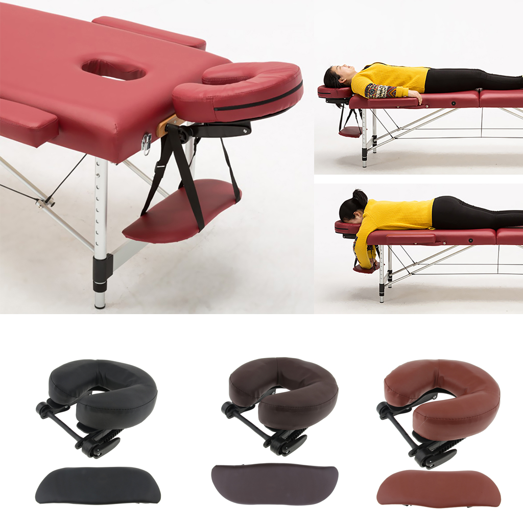 Adjustable Height Face Cradle+Facial Rest Down Cushion+Arm Support Pillow Set For Massage Table Bed - Brown/Red/Black Optional