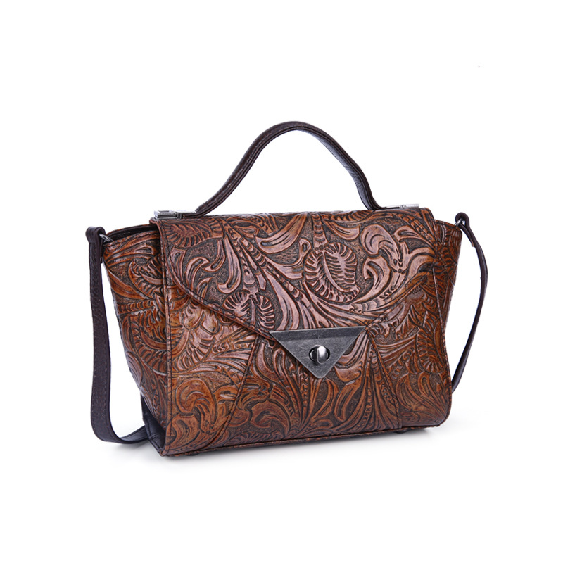 women genuine leather handbag flower pattern national style Classic flower embossing Cow leather vintage trapeze 7 colors 247 classic leather