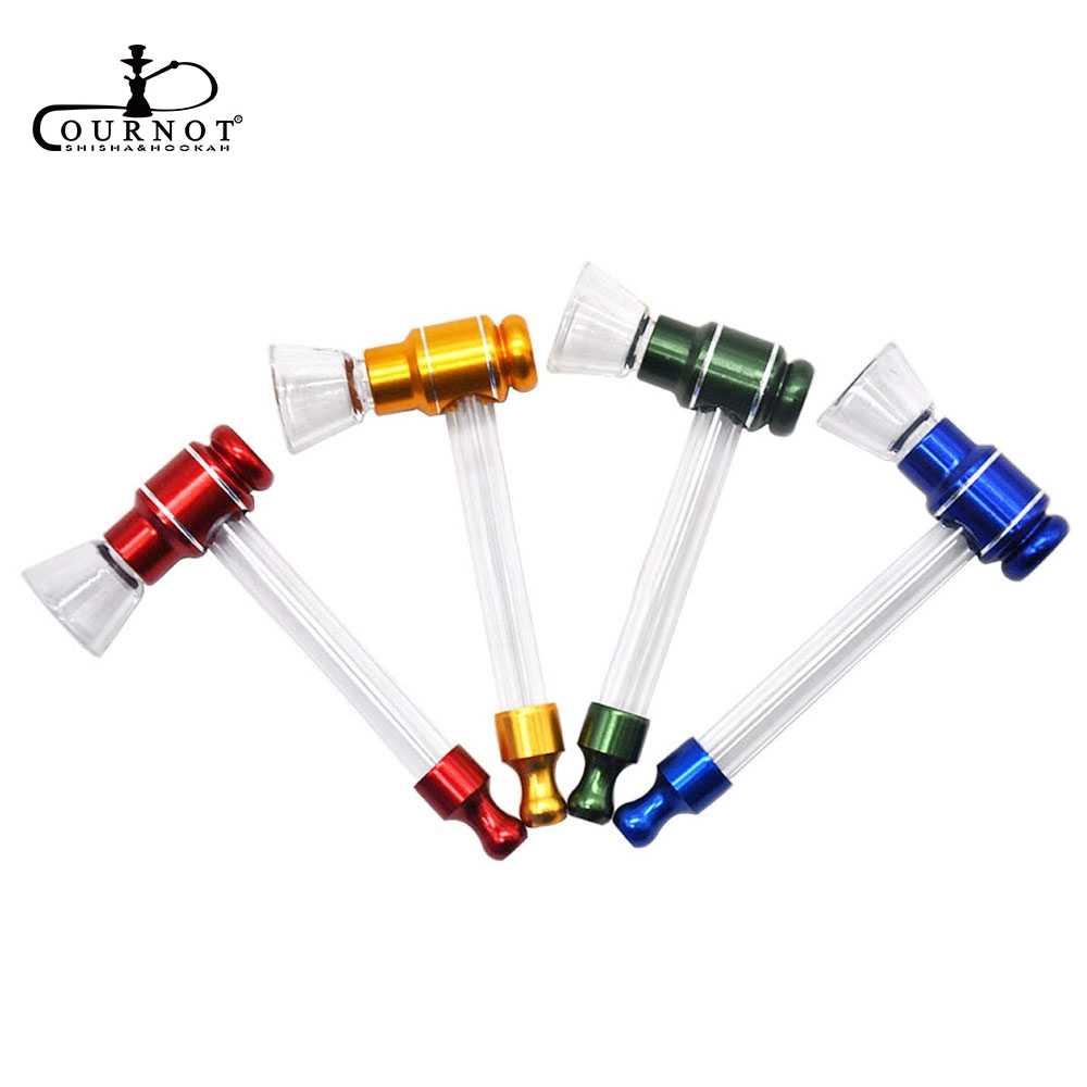 COURNOT פיירקס זכוכית עישון עישון צינורות 15MM זכוכית קערת מתכת טבק עשב צינור להסרה עשן יד כף צינורות אבזרים