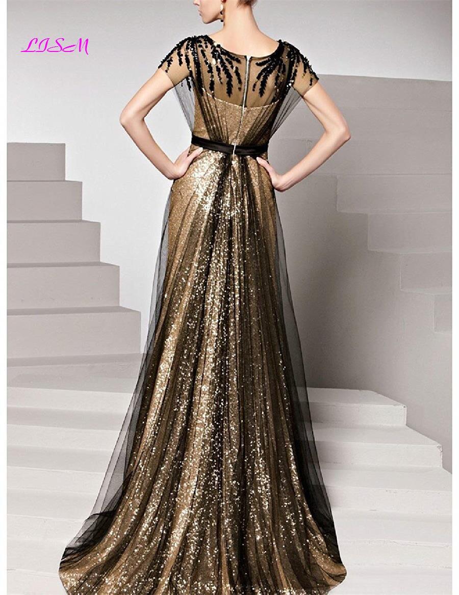 Paillettes longues robes de soirée Scoop Cap manches Tulle robe de bal élégant ruché Empire robes formelles vestidos de gala dames robe - 3