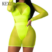 KEXU Two Pieces Sets See Through Mesh Bodysuits Long Sleeve Bodycon Bandage Boho Beach Playsuits Plus Size 3XL Monos Mujer fuda two pieces sets large size 3xl playsuits women bodycon rompers bodysuits short sleeve printed casual summer overalls