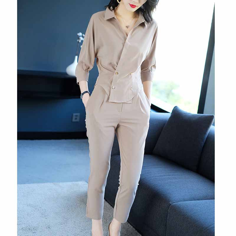2019 Spring And Summer Women's Ladies, Small Fragrance, Goddess Fan Yangqi Casual Professional Suit Shirt Pants Two-piece Suit