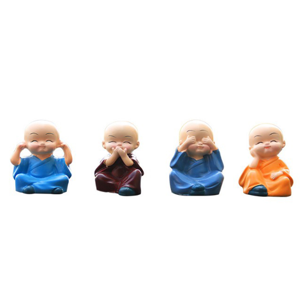 Dropshiping 4Pcs/Set Lovely Car Interior Accessories Doll creative gifts little Buddha Kung Fu Small Ornaments