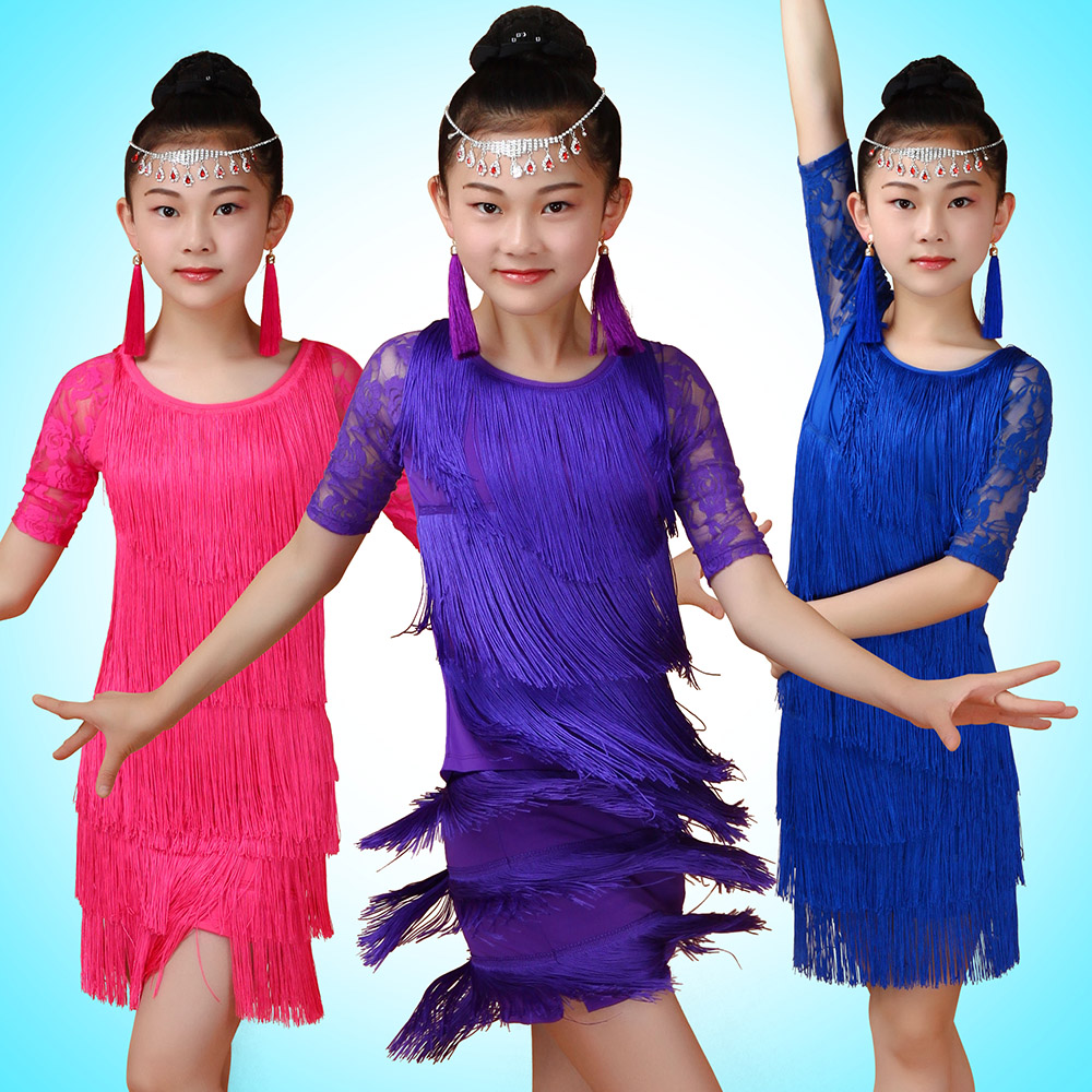 2016 Summer 100-160cm Girl Kids Fringe Tassel Skirt Latin Dresses For Ballroom/Salsa/Tango Stage Show Dancing Purple/Blue/Pink