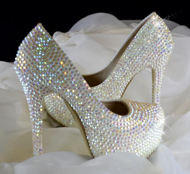 ФОТО Luxury crystal embellished high heel shoes the bride wedding heels 2017 sexy platform pumps slip-on dress shoes white