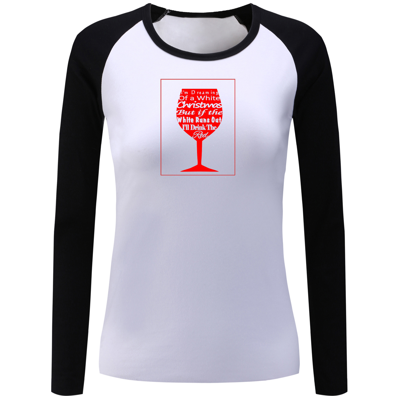 0f624d817 iDzn Cotton Women's Raglan T shirt I'm Dreaming Of A Wine Christmas Female  Long Sleeve T shirts Autumn Spring Casual Tee Tops-in T-Shirts from Women's  ...