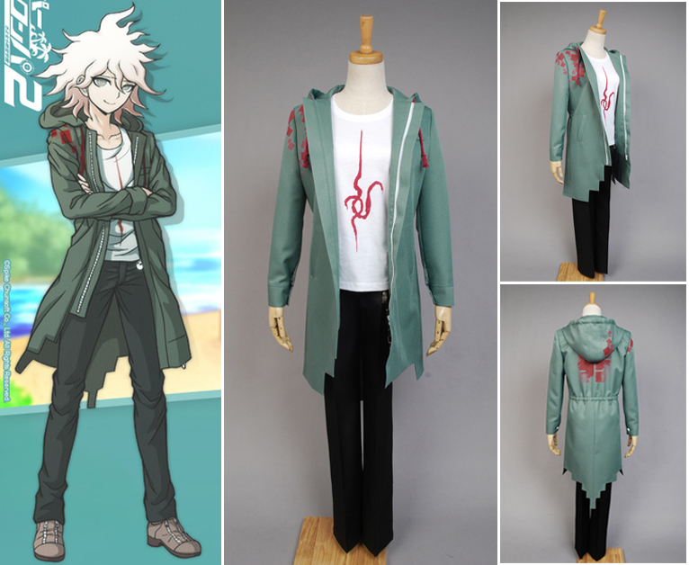Super Danganronpa 2 Nagito Komaeda Uniform Male Coat font b Shirt b font Pants Anime Halloween