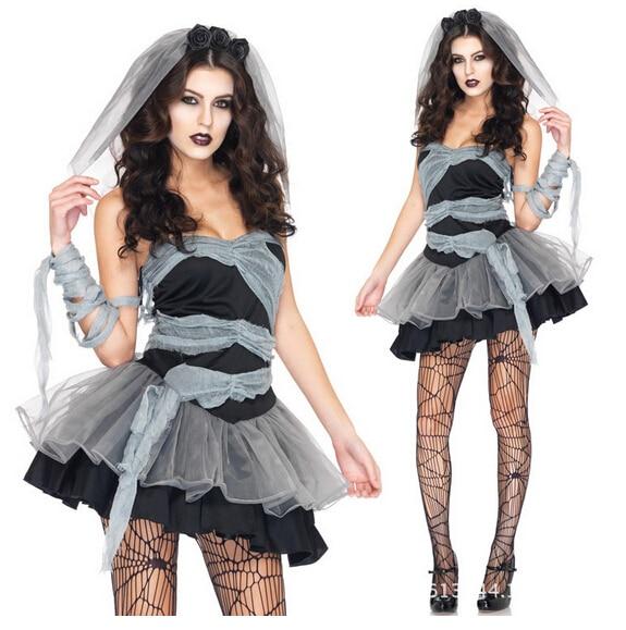 Female Zombie Jogos Fantasias Black Off-Shoulder Lace Dress Above-Knee Halloween Cosplay Costume Unique Women Dress BI94