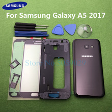 For Samsung Galaxy A5 2017 A520 A520F SM A520F Full Housing Case Bezel Middle Frame Back Cover + Front Glass Lens Tools Sticker