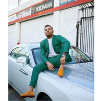 Men's Suit Green Men Custom Costume Notched Lapel Groom Suits For Men Man Business Suit 2 pieces (Jacket + Pants + Tie)