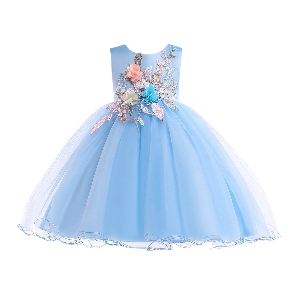 Flower Baby Girls Princess Tutu Dress Print Sleeveless Formal Clothing Dresses