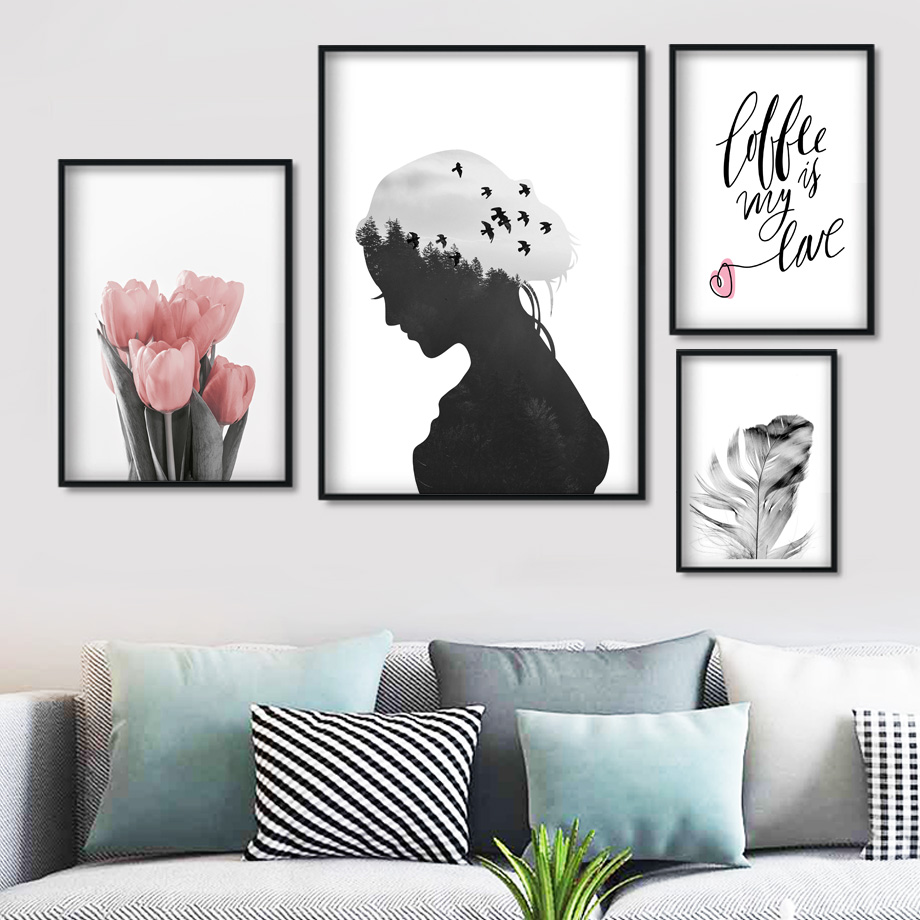 Tulip Girl Feather Quote Wall Art Canvas Painting Nordic Posters And Prints Landscape Wall Pictures For Living Room Decor in Painting Calligraphy from Home Garden