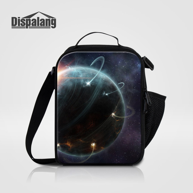 Dispalang Portable Insulated Lunch Bags For School Galaxy Printed Men Box Messenger Bag Universe E