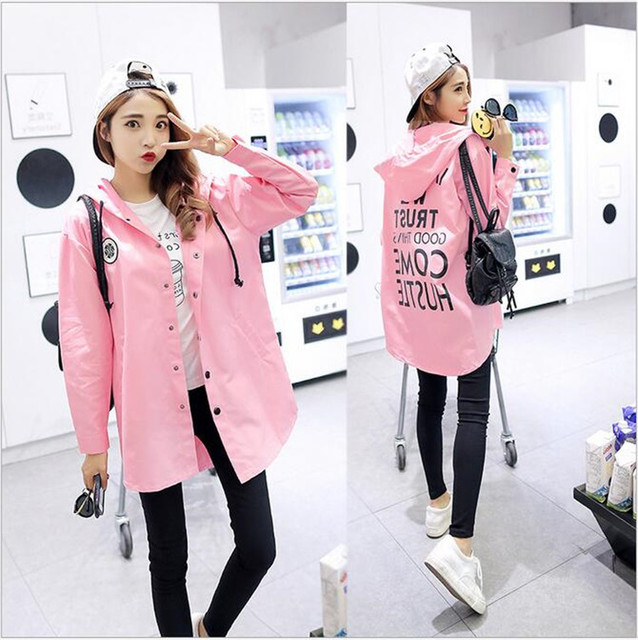 new Fall Korean version of the trend fashion wild And long sections Windbreaker letter printing casual loose hooded coat female