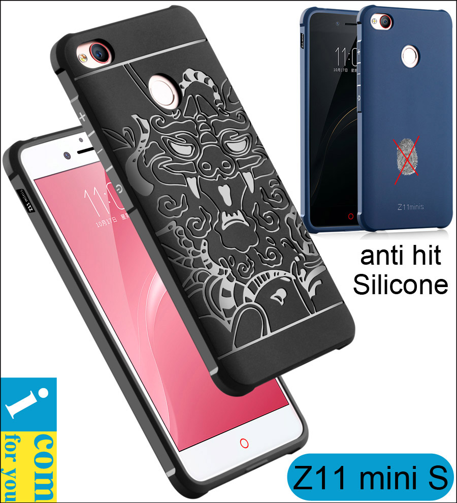 Armor anti hit Shock proof Silicone Case For ZTE Nubia Z11 mini S 5.2 inch 3D carved Dragon Drop resistance Soft Rubber Cover