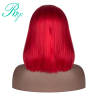 180% Density Red Blonde Ombre Bob Wigs Brazilian Silky Straight Human Hair Lace Front Wig For Black Woman Riya Remy Hair
