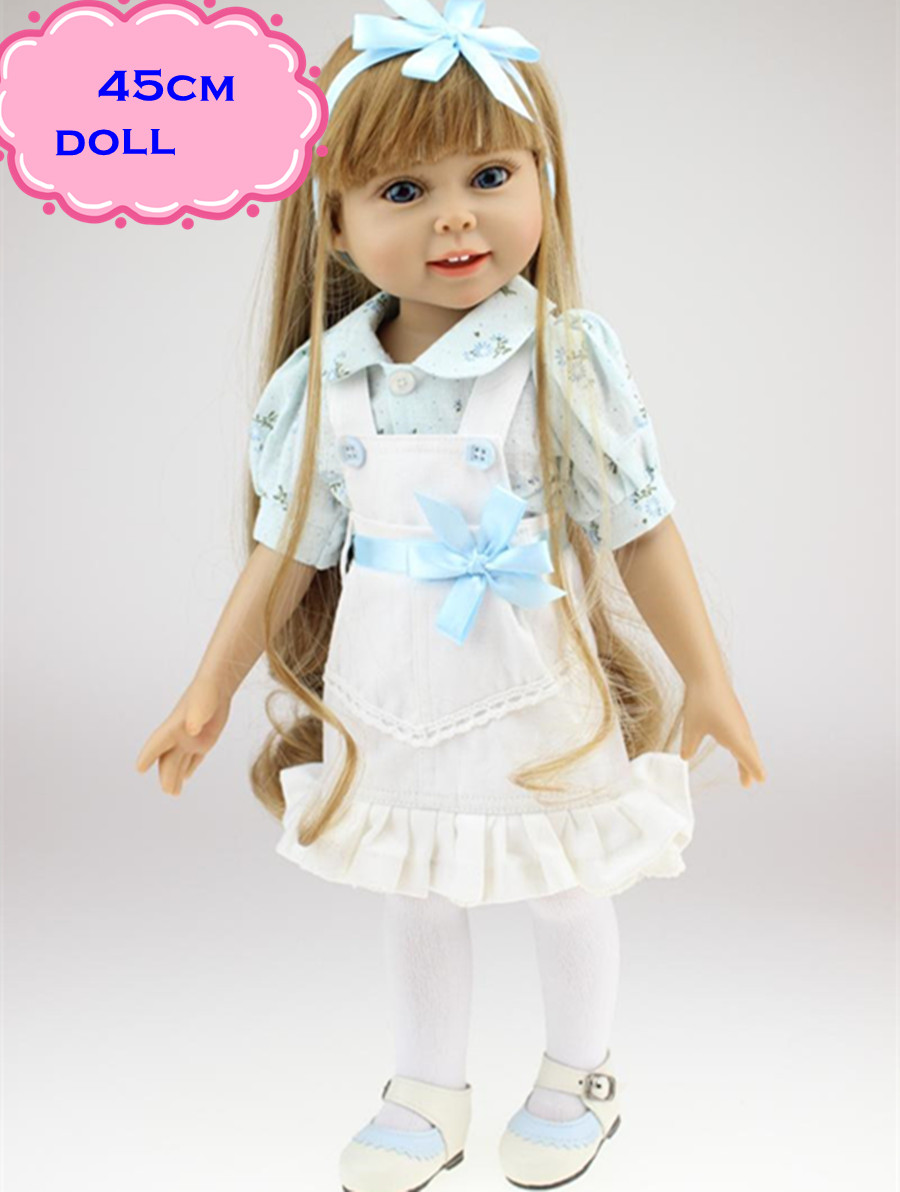 ФОТО 18inch Long Hair Pretty American Girl Doll With Fashion Clothes Real Looking Full Vinyl Baby Dolls Reborn For Kid Gift Brinquedo