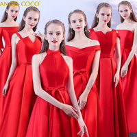 Ever Pretty Red Bridesmaid Dresses Long Satin Cheap Floor Length Wedding Bridesmaid Gown Formal Party Gowns Brautjungfer Kleid