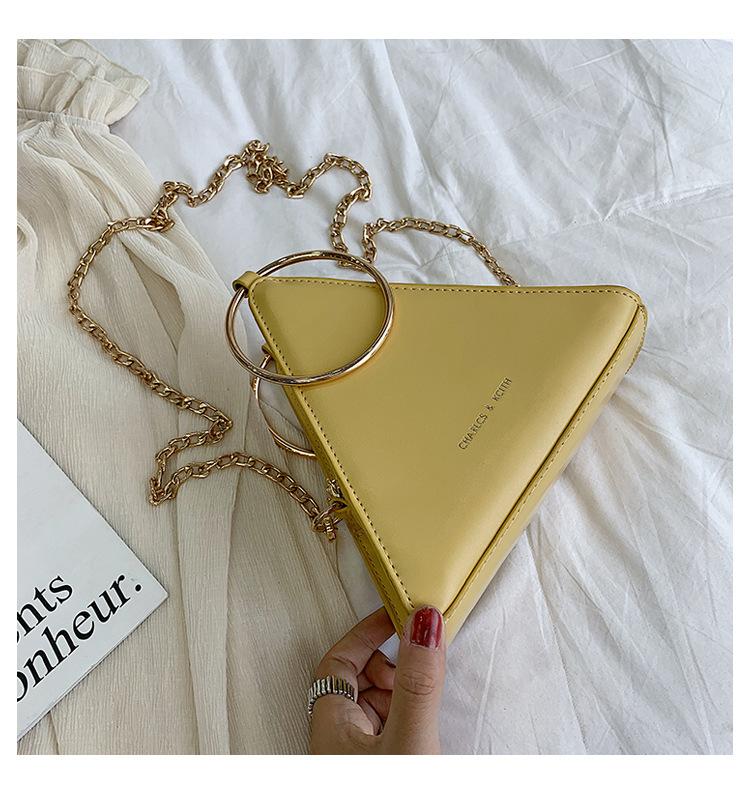 Summer New Triangle Women Handbag Small Cute Chain Metal Tote Bag