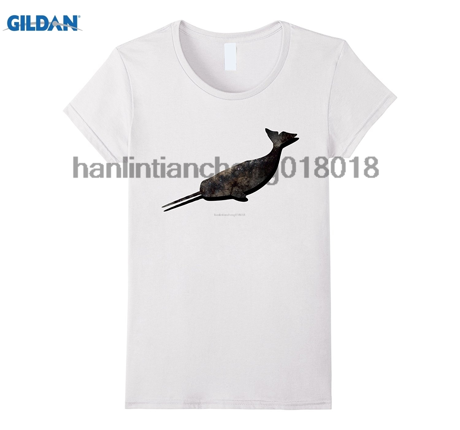 GILDAN Space Narwhal T-shirt Mens Print T-Shirts Fashion Short Sleeve T Shirt Casual Fit Tops Tees Hot tshirt