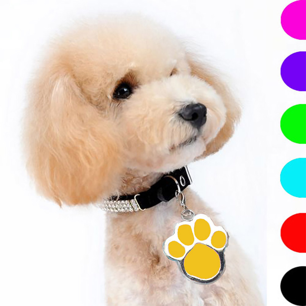 PET Hot Sale New Fashion Popular Footprints Puppy Rhinestone Pendant Lovely Pet Id Tags for Kitten Puppy Pet Products