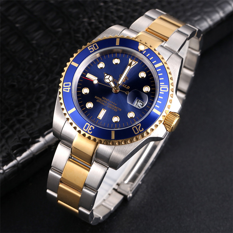 REGINALD Watch Men Rotatable Bezel GMT Sapphire glass 50m Water Full Steel Sport Fashion blue dial Quartz Watch Reloj HombreQuartz Watches   -