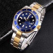 רג ינלד שעון גברים Rotatable Bezel GMT ספיר זכוכית 50m מים מלא פלדת ספורט אופנה כחול חיוג קוורץ שעון Reloj hombre