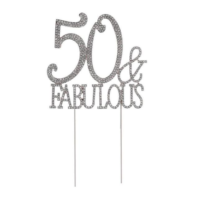 50 Fabulous Cake Topper For 50th Birthday Party Or Anniversary Crystal Rhinestones Decorative Supplies