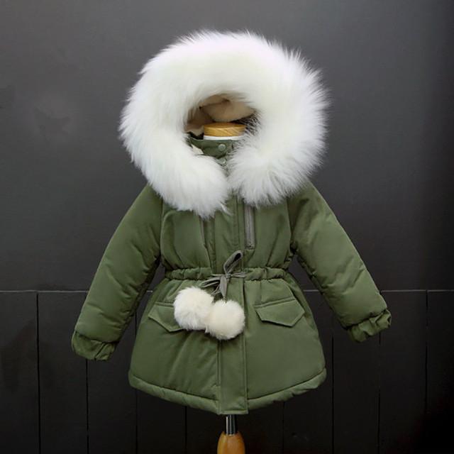 2017 Meninas de Inverno Casacos E Jaquetas de Lã Grande Colarinho Crianças falso Casaco De Pele Crianças Roupas Crianças Outwear Inverno Para Meninas Parkas