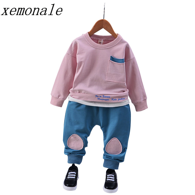 1-5Yrs Children Boy Girls Clothing Set Kids Sports Clothes Kids T-shirt Pant Baby Sweatshirt Character Casual Tracksuits футболка для мальчиков children boy clothes camisa 100% vetement garcon enfant girls tee shirts