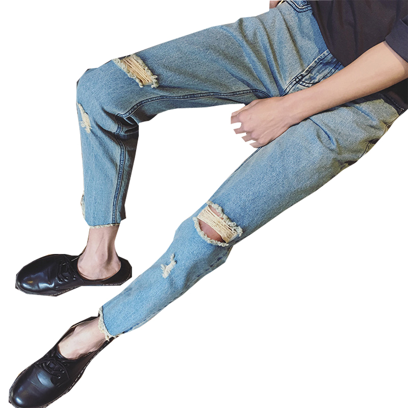 2018 Spring New Mens Fashion Tide HongKong Style Holes Wash Denim Stretch Slim Fit Jeans Pants Casual Pure Color Trousers M-2XL