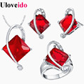 50% off 5 Cores Nupcial Do Casamento Africano Dubai Moda Vermelho Conjuntos de Jóias de prata para Noivas Brincos Neckace Cristal Tamanho 6-9 T295