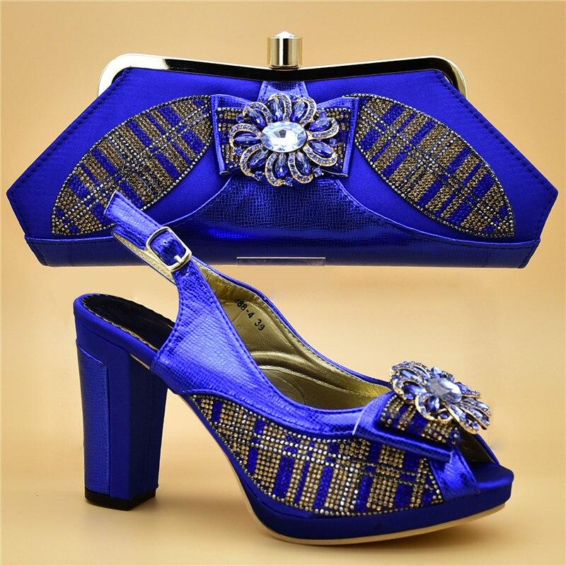 A Azul Mujer De Mujeres Italianos Para Rhinestone oro sky Y Con Blue Zapatos rosado Nuevos Juego Decorado Boda Bolsas Bolsa Nigeriano Tacones wqnIAvZCT