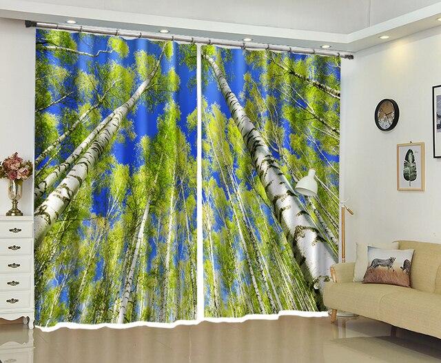 Rideau dombre de haute précision 3D   À la lumière du soleil imprimé par les arbres, feuilles dété pour le salon, faire maison vibrante