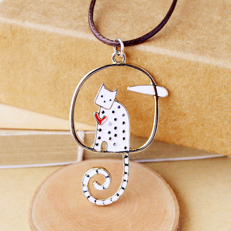 SUROU 2018 New Natural Ladies Necklace Greek Design Fresh Cute Fairy Polka Dot Cat Wolf Owl Pendant Necklace