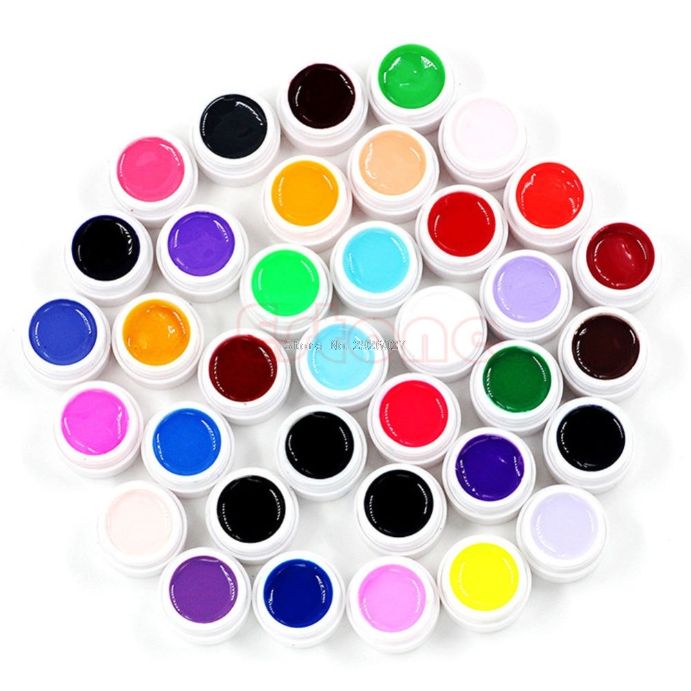 New 36pcs Mix Colors Pots Tips Builder Cover UV Nail Art Gel Manicure Decor Set -B118 120 180 colors professional manicure salon nail art uv gel polish tips card display board book chart palette 3 colors