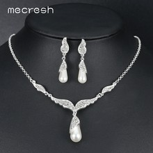 Mecresh Elegant Crystal Necklace Earring Jewelry Sets for Women Wing Shape Wedding Party Bridal Jewelry Set for Bridesmaid TL543(China)