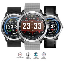 Get more info on the N58 Bluetooth Smartwatch 1.22 inch HD IPS Round Screen ECG PPG Fitness Tracker Steel/Leather Strap Multiply Sport Modes Bracelet