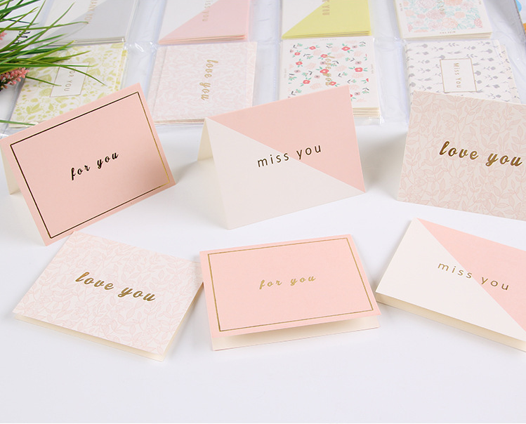 96pcs Cute Thank You Greeting Card Holiday Gift Birthday Gilding Text Anniversary Postcard Festival Party Supplies in Cards Invitations from Home Garden