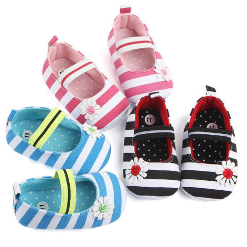 0-18M Newborn Toddler Infants Baby Girl Soft Crib Shoes Moccasin Prewalker Flower Striped First Walk Sole Shoes