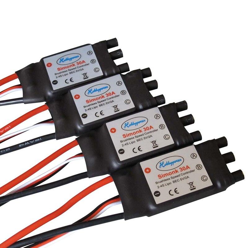 4 шт., бесщеточный контроллер скорости Hobbypower SimonK 30A ESC BEC 5V 2A для квадрокоптера F450 X525 S500