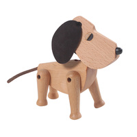 Wooden Dog Figurines Creative Animal Art Craft Home Office Decoration Desktop Ornaments