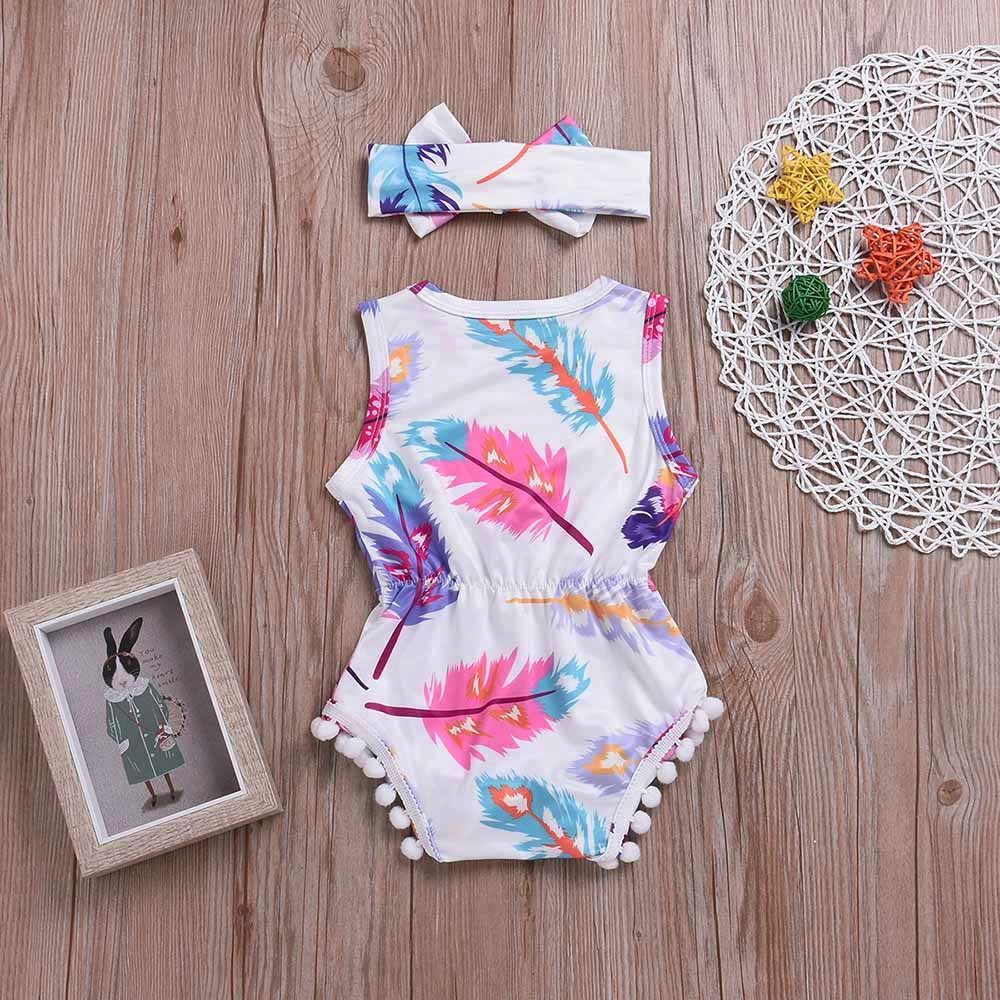 2 piezas infantil niños bebé mameluco de chicas de pluma sin mangas mono + Headband Set recién nacido ropa de bebé niño niña mameluco