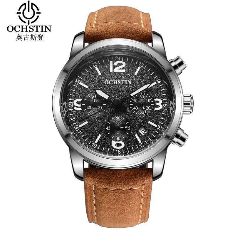 цена OCHSTIN Sport Suit Watches Men Waterproof Leather Band Quartz Wristwatch Military Male Clock Relogio Masculino Ceasuri Hodinky