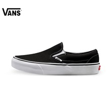Original Vans Classic Black and White Unisex Skateboarding Shoes Sports Shoes Slip-On Canvas Shoes Sneakers free shipping