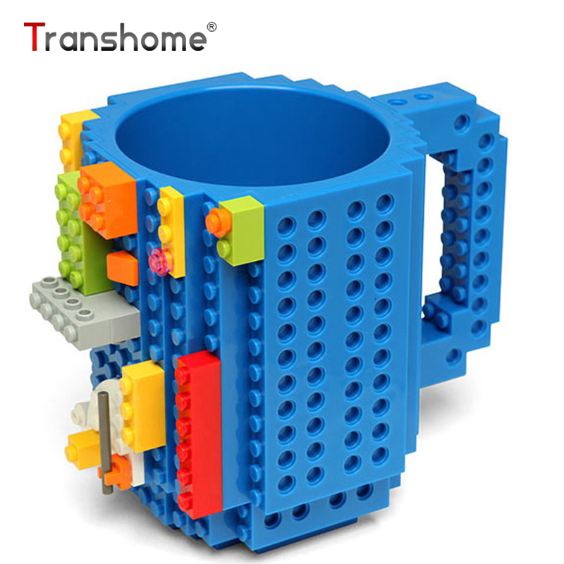Transhome Building Blocks Mug 350ml Creative Personality Plastic Unbreakable Tumbler Assembling Of DIY Assembly Milk Coffee