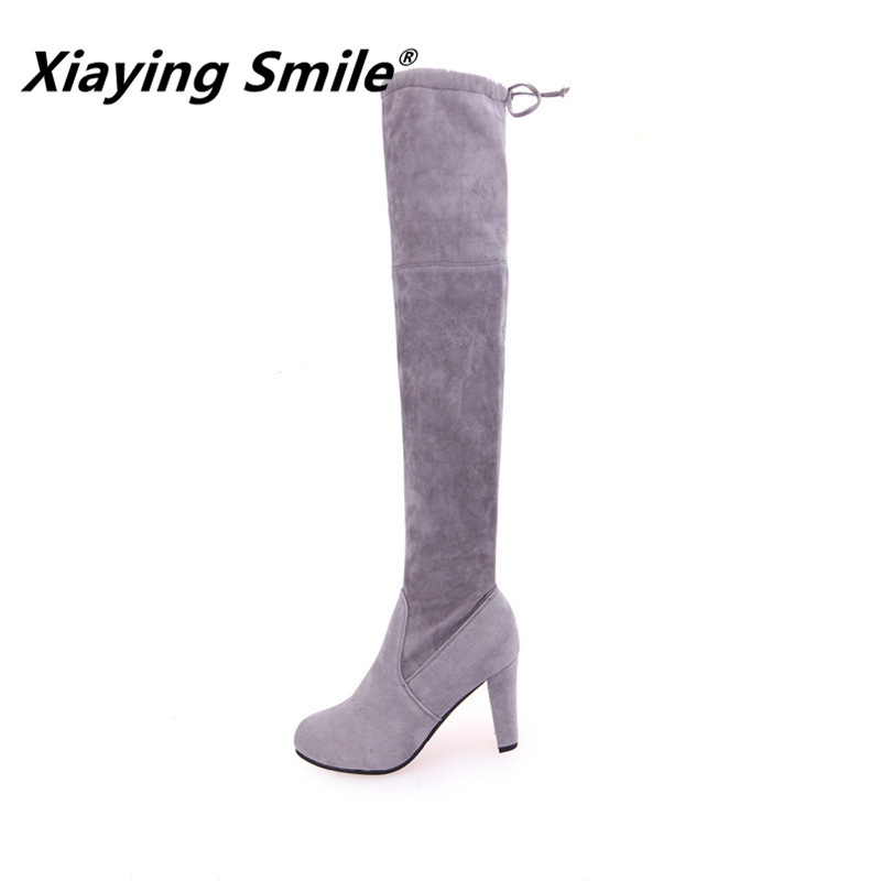 Xiaying Smile 2018 Winter Style Women Boots Warm Knee High Boots Slip On Flats Round Toe